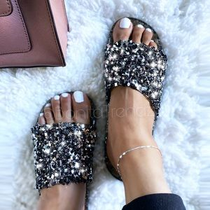 Shoes - NEW 🔥 Black BEDAZZLED Glitter Embellished Slides